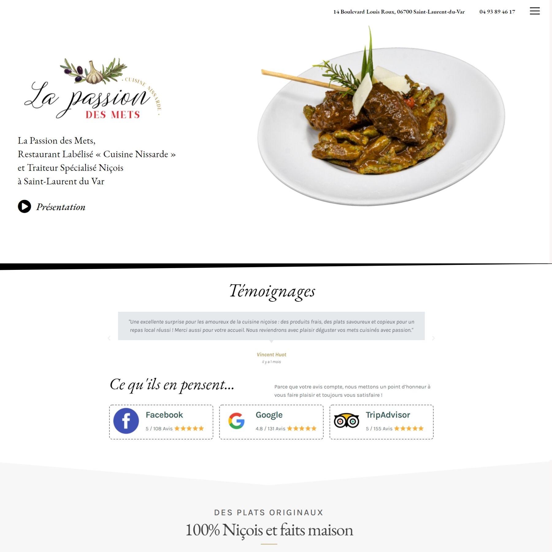 création site internet - screenshot - la passion des mets