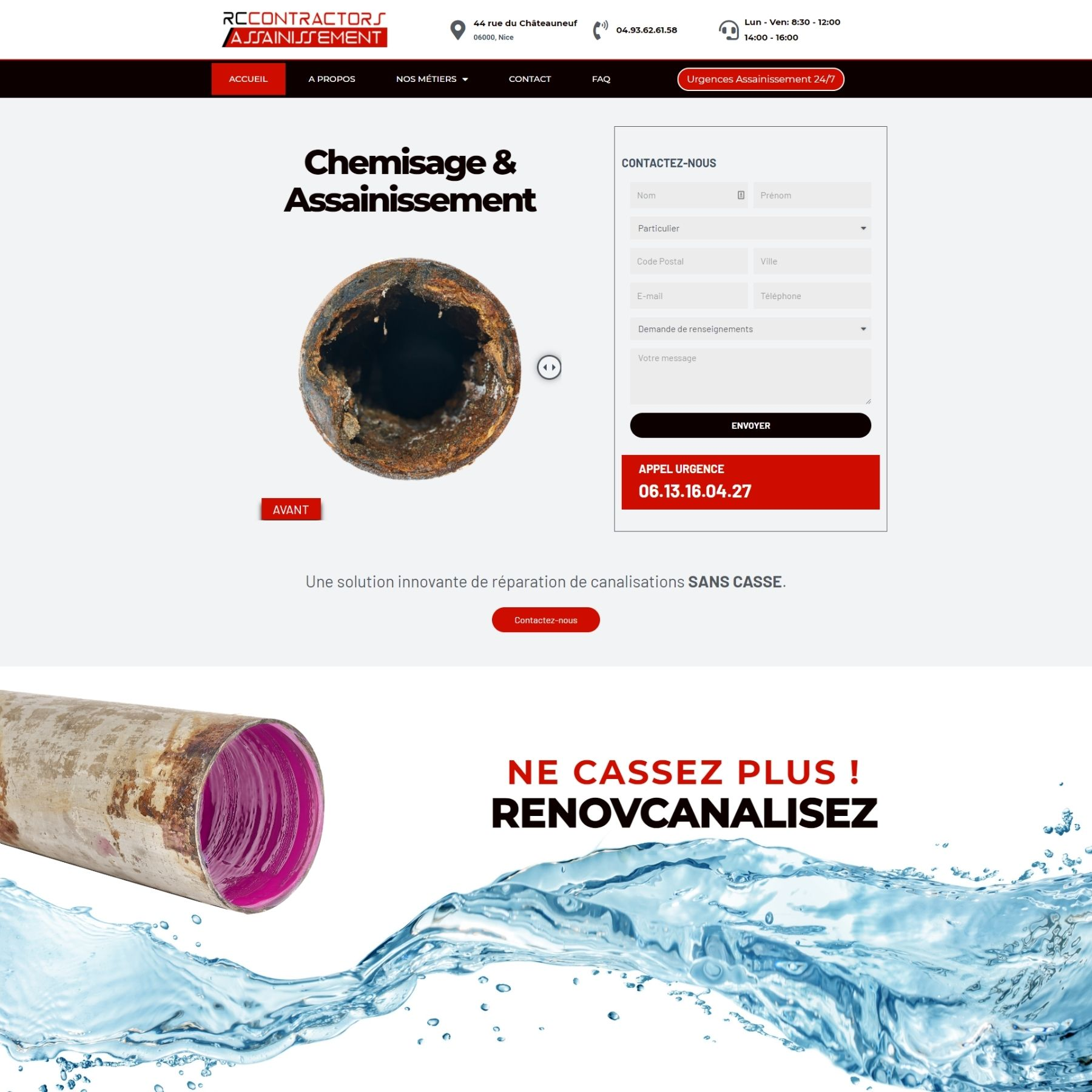 création site internet - screenshot - Rennovcanalisation